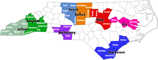 Map of NC Independent Living Center service areas