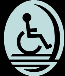Black square with a light blue oval. In the oval is a sillouette in black of a person in a wheelchair