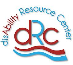 dRc alternating in red and sky blue centered with a wave of red and then blue underneath. Arched above is dis(in blue) Ability in red, Resource Center in blue.